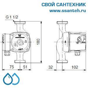 10605 Насос отопления циркуляционный UPS 25-60 180 1х230 V (Гайки в комплекте)