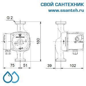 10608 Насос отопления циркуляционный UPS 32-60 180 1х230 V (Гайки в комплекте)
