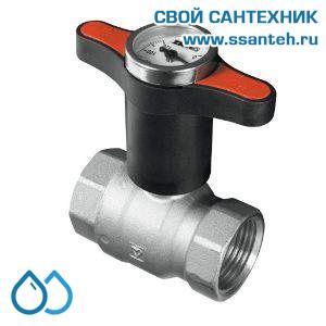 17530 Termicus Кран шаровой латунный с красной ручкой и термометром для насосных модулей NM7745T74, NM7745T74