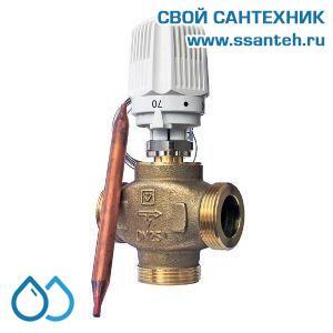 18196 TERMICUS 7761T742103 Клапан трехходовой термостатический для твердотопливного котла, DN25, +40...+70°С,  Kvs 6,27 м3/час, с выносным термобаллоном