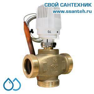 18197 TERMICUS 7761T742104 Клапан трехходовой термостатический для твердотопливного котла, DN32, +40...+70°С,  Kvs 6,44 м3/час, с выносным термобаллоном