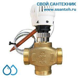18198 TERMICUS 7761T750101 Клапан трехходовой термостатический для теплого пола, DN15, +20...+70°С,  Kvs 3,0 м3/час, с выносным термобаллоном