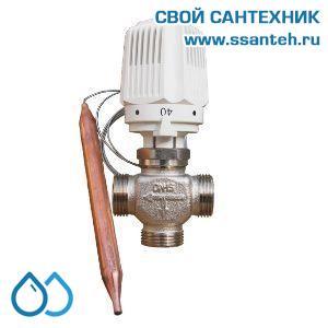 18734 TERMICUS 7761T742015 Клапан трехходовой термостатический для теплого пола, DN15, +20...+50°С, Kvs 1,45 м3/час, с выносным термобаллоном