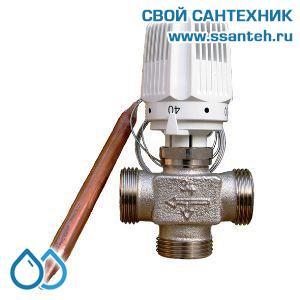 18736 TERMICUS 7761T742020 Клапан трехходовой термостатический для теплого пола, DN20, +20...+50°С, Kvs 1,65 м3/час, с выносным термобаллоном