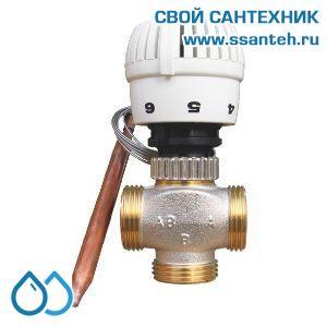 18742 TERMICUS 7762T750120 Клапан трехходовой термостатический для теплого пола, DN20, +20...+70°С,  Kvs 5,0 м3/час, с выносным термобаллоном
