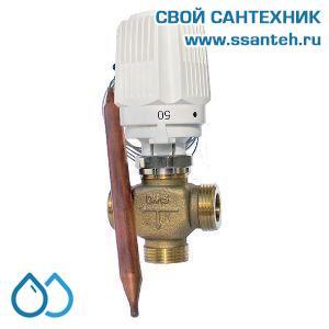 18836 TERMICUS 7761T742001 Клапан трехходовой термостатический для теплого пола, DN15, +20...+50°С,  Kvs 3,0 м3/час, с выносным термобаллоном