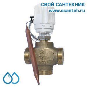 18838 TERMICUS 7761T742003 Клапан трехходовой термостатический для теплого пола, DN25, +20...+50°С,  Kvs 6,27 м3/час, с выносным термобаллоном