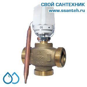 18839 TERMICUS 7761T742004 Клапан трехходовой термостатический для теплого пола, DN32, +20...+50°С,  Kvs 6,44 м3/час, с выносным термобаллоном