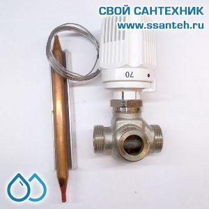 18845 TERMICUS 7761T742143 Клапан трехходовой термостатический для систем отопления, DN15, +40...+70°С, Kvs 3,5 м3/час, с выносным термобаллоном (левый)