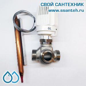 18846 TERMICUS 7761T742144 Клапан трехходовой термостатический для систем отопления, DN15, +40...+70°С, Kvs 3,5 м3/час, с выносным термобаллоном (правый)