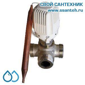 18848 TERMICUS 7761T742146 Клапан трехходовой термостатический для систем отопления, DN20, +40...+70°С, Kvs 4,2 м3/час, с выносным термобаллоном (правый)