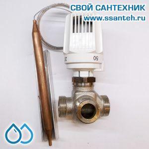 18856 TERMICUS 7761T742043 Клапан трехходовой термостатический для теплого пола, DN15, +20...+50°С, Kvs 3,5 м3/час, с выносным термобаллоном (левый)