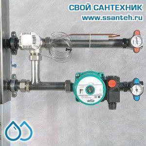18920 Насосный модуль со смесителем под термоголовку, Kvs 5,28 (нерж.), правый, без насоса