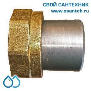 """20505 Termicus Соединитель накидная гайка 1"""" ВР со штуцером приварным L=100 мм, сталь, плское уплотнение, прокладка, шт."""